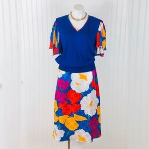 VTG Anthony Sicari Bright Floral Print Skirt Set